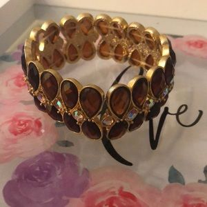 Chunky crystal and stone beaded statement bracelet